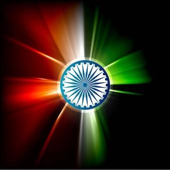 Glanzende stralen in indiase vlag kleuren