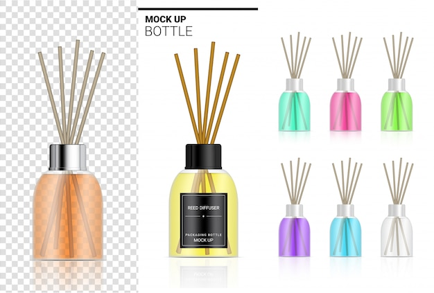 Glanzende transparante rietverspreider fles met parfumolie productbranding reclame met pastelkleur. ontspan koopwaar achtergrondillustratie.