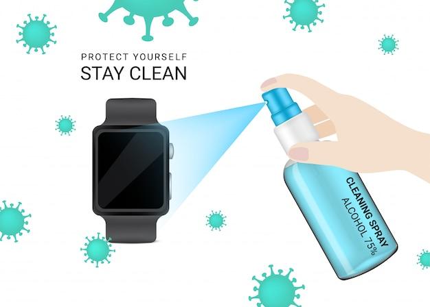 Glanzende transparante spuitfles met hygiënisch ontsmettingsalcohol en laptop voor reclame tegen corona tegen virussen. nieuwe normale achtergrond afbeelding. gezondheidszorg en medisch conceptontwerp.