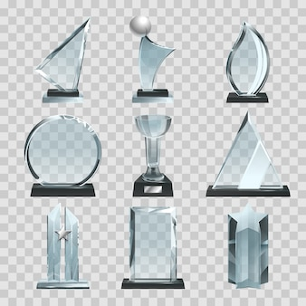 Glanzende transparante trofeeën, onderscheidingen en winnaarbekertjes.