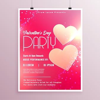 Glanzende valentijnsdag flyer ontwerpsjabloon