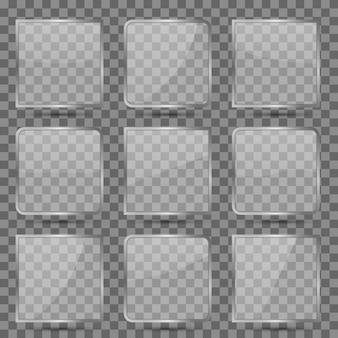 Glanzende vierkante glazen set
