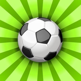 Glanzende voetbal over groene stralen