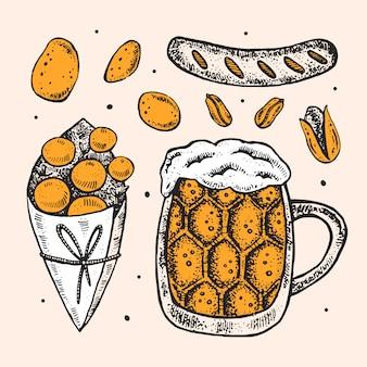 Glas ambachtelijk bier, gebakken aardappel, chips, worst, pistache, pinda. oktoberfest-illustraties, set elementen.