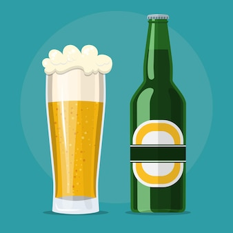 Glas bier en fles icoon. geïsoleerd op de achtergrond. vectorillustratie in vlakke stijl