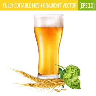 Glas bier en hopillustratie op wit