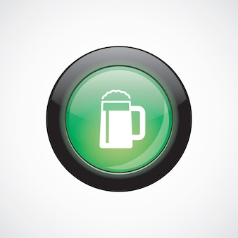 Glas bier glas teken pictogram groene glanzende knop. ui website knop