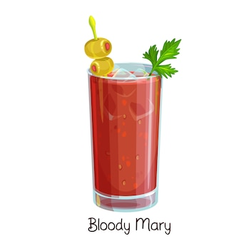 Glas bloody mary cocktail met selderij en olijven op wit. kleur illustratie zomer alcohol drinken.