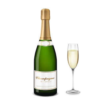 Glas champagne en fles