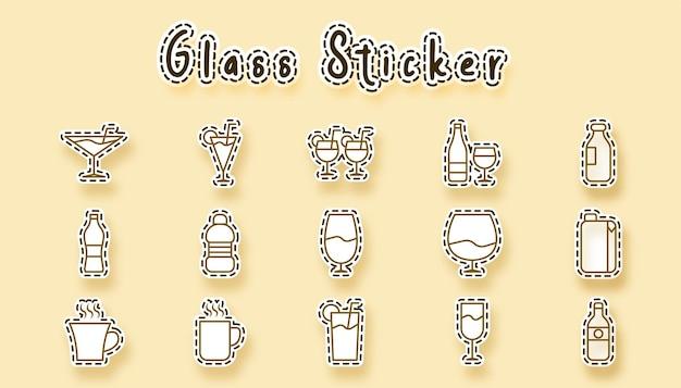 Glas drank lijntekeningen