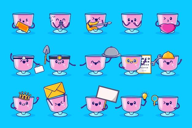 Glas drinken schattige tekenset