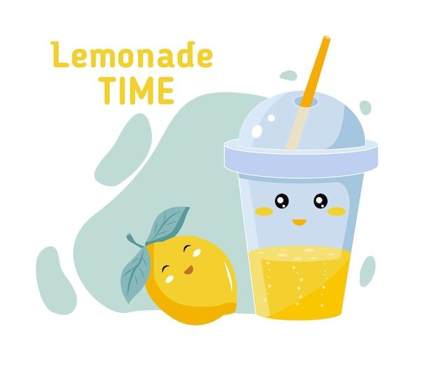 Glas en cocktailbuis met limonade of ijsthee, citroenschijfje en citroen vectorbeeldverhaalillustratie