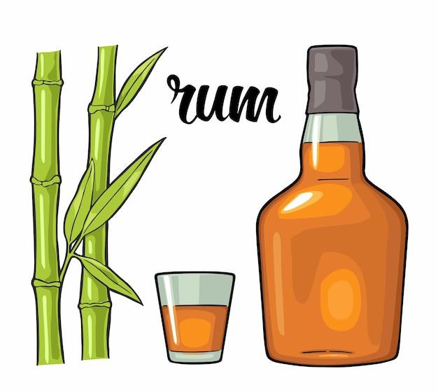Glas en fles rum met suikerriet vintage vectorkleurenillustratie