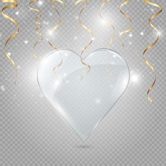Glas en neonhart op een transparante achtergrond, illustratie.
