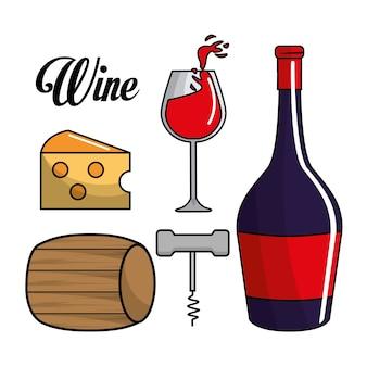 Glas, fles wijn, vat, kaas en neem kurk
