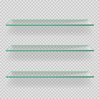 Glas lege planken op transparante afbeelding
