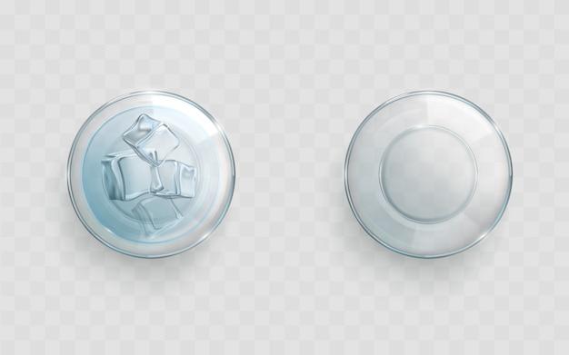 Glas met gekoelde ijswater realistische vector
