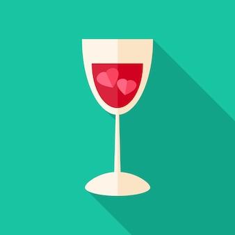 Glas met twee harten. plat gestileerd object met lange schaduw