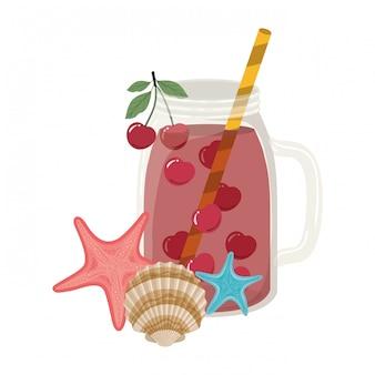 Glas met verfrissend drankje voor de zomer
