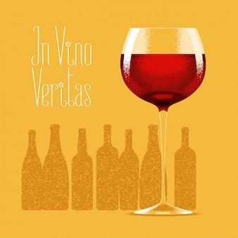 Glas rode wijn illustratie