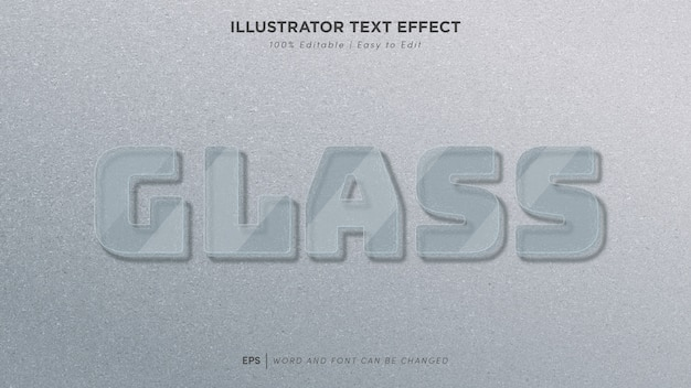 Glas teksteffect bewerkbaar lettertype