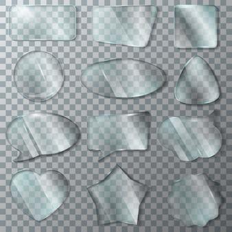Glas vector transparantie glanzende duidelijk leeg frame en lege glazen venster hart glaswerk set van realistische glanzende bubble speech