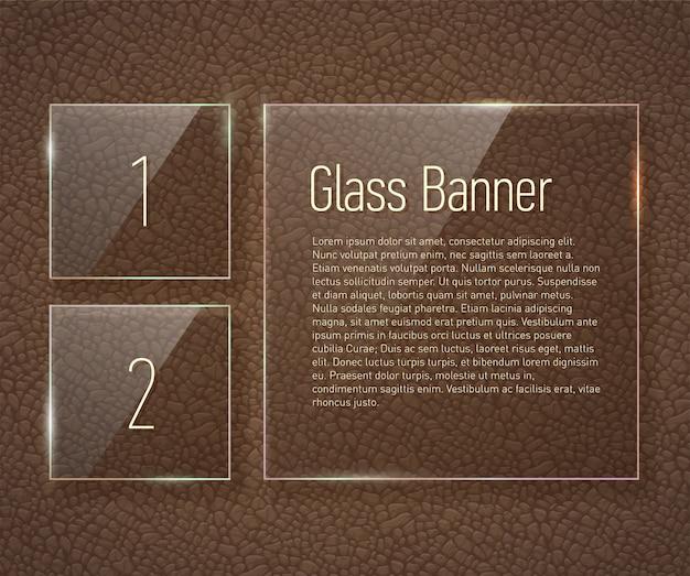 Glaskader op een leerachtergrond