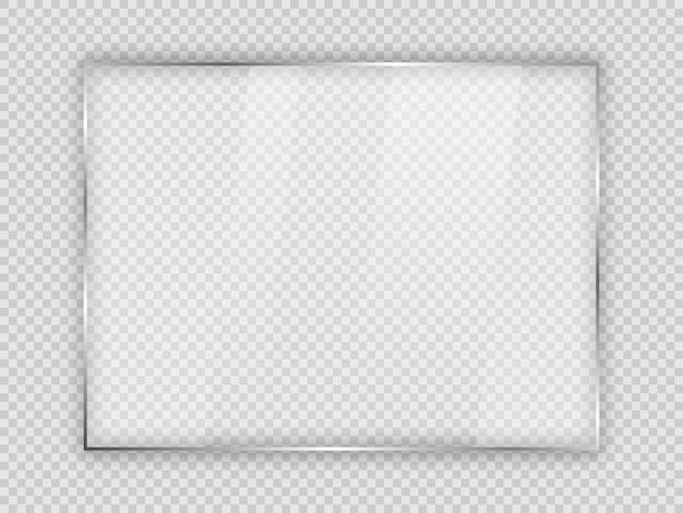 Glasplaat in rechthoekig frame geïsoleerd op transparante achtergrond. vector illustratie.