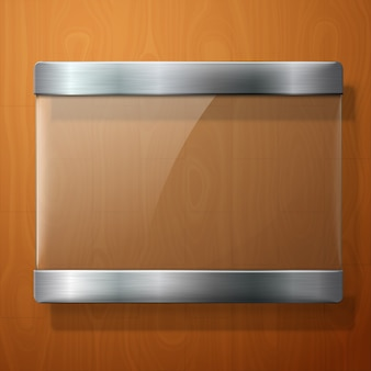 Glasplaat met metalen houders, voor uw borden, op houten achtergrond.