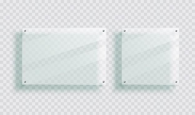 Glasplaat met reflectie plastic paneel met pinnen op muur voor poster of acryl fotolijst