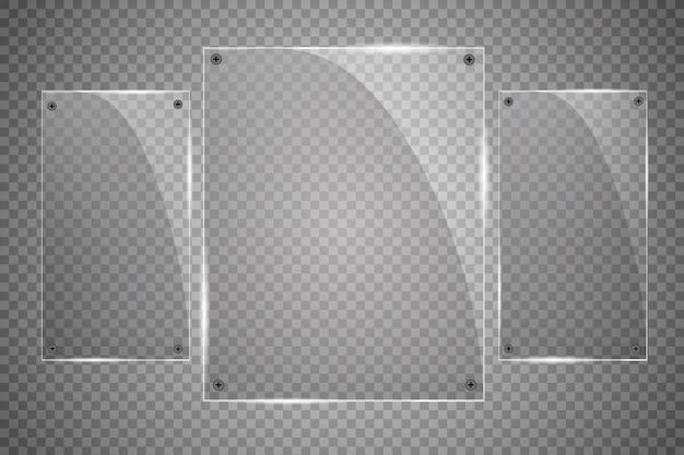 Glasplaten zijn geïnstalleerd. glazen banners op een transparante achtergrond. glas. glas schilderijen. kleur frames.