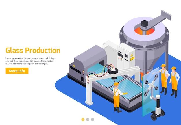 Glasproductie isometrisch met lees meer knop en illustratie