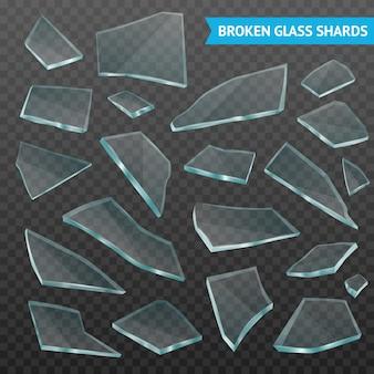Glass fragments realistic dark transparent set