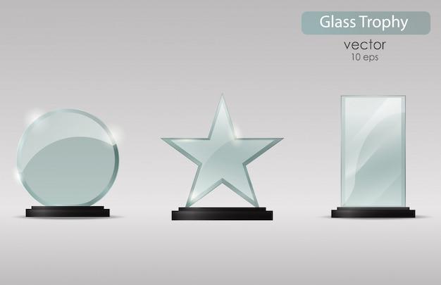Glass trophy award.