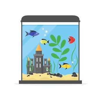 Glazen aquarium met kasteel voor binnenhuis. apparatuur hobby vlakke stijl.