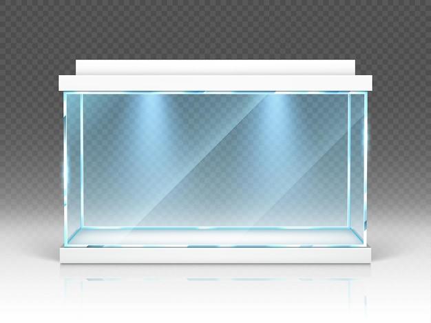 Glazen aquariumbak, terrarium met achtergrondverlichting op transparant