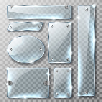Glazen banner met metalen houder en bouten