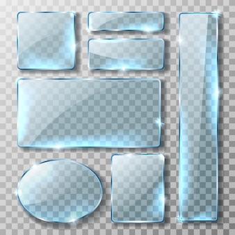 Glazen banner of plaat, realistische set