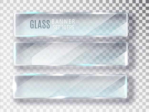 Glazen banners set.