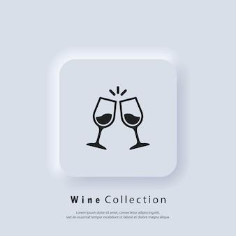 Glazen bekers juichen pictogrammen toe. wijn pictogram. vector. neumorphic ui ux witte gebruikersinterface webknop. neumorfisme