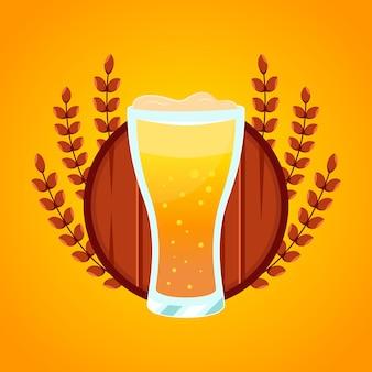 Glazen bier badge tarwe illustraties