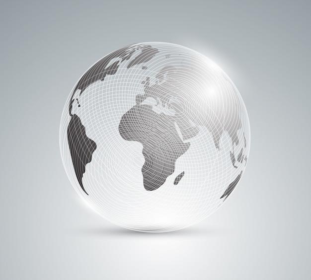 Glazen bol met wereldkaart.