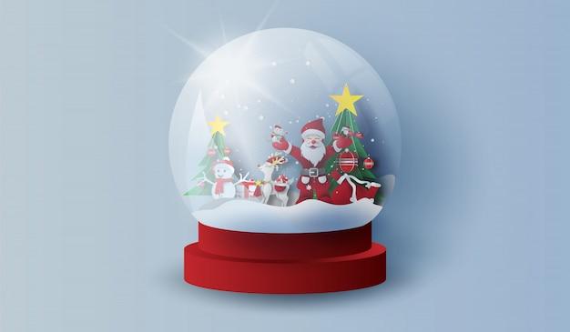 Glazen bol sneeuw vrolijk kerstfeest