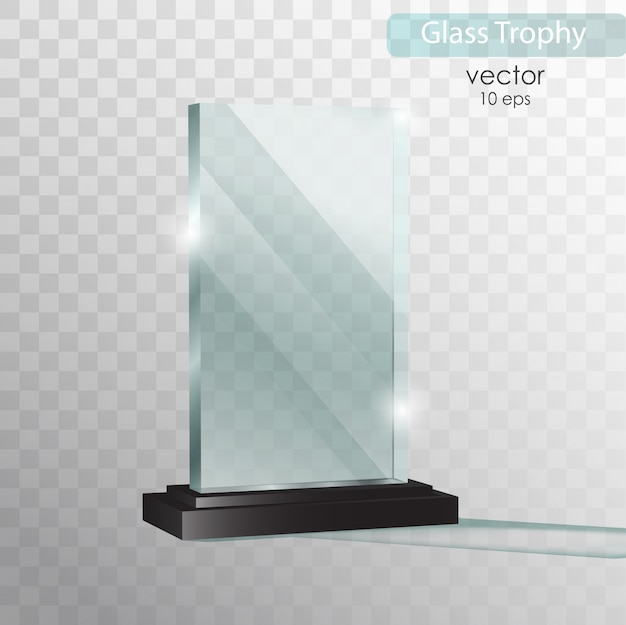 Glazen bord. glass trophy award.