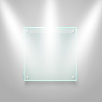 Glazen bord verlicht op de muur. vector mockup