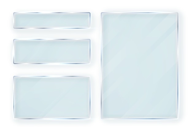 Glazen borden set. glasbanners op transparante achtergrond. vlak glas.