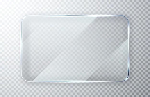 Glazen borden set. glazen banieren vlakglas helder raam.