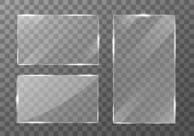 Glazen borden set. reflectie 3d-plaat. glazen lijst.
