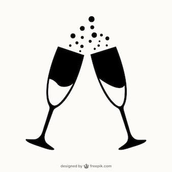 Glazen champagne contouren