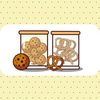 Glazen containers met koekjes en pretzels